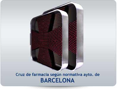 Cruz de farmacia led según decreto Barcelona