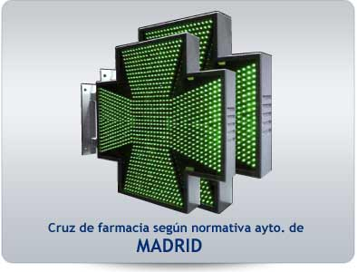 Cruz de farmacia led según normativa de Madrid